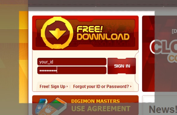 digimon masters login